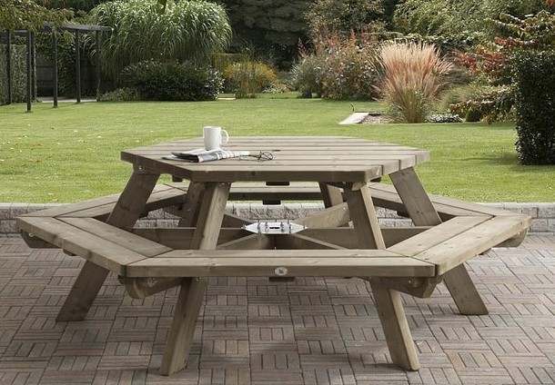 Picknicktafel Zeshoek